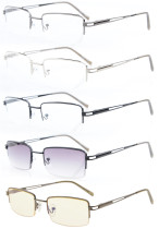 5 Pairs Mix Rectangle Half-rim Spring Temples Reading Glasses R15014-Mix