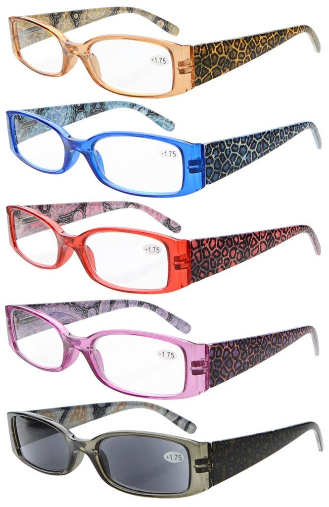 5-pack Spring Hinges Reading Glasses Includes Sunshine Readers