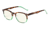 Computer Glasses UV Protection Tinted Lenses Vintage Women Men Tortoise-Green CG065