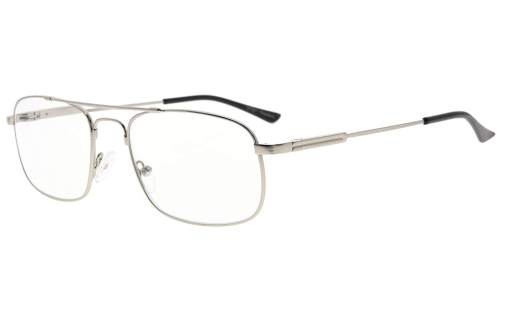 Memory Titanium Reading Glasses Bendable Bridge And Temple Readers Silver R1705