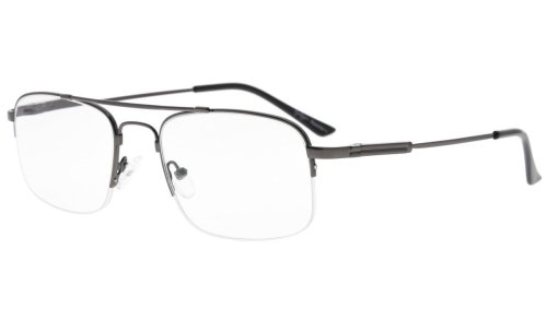 Half-rim Memory Titanium Bendable Reading Glasses Readers Gunmetal R1706