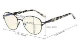 Computer Reading Glasses,Blue Light Filter Readers, Stylish Cateye Round Eyeglasses Women,Black LX17017