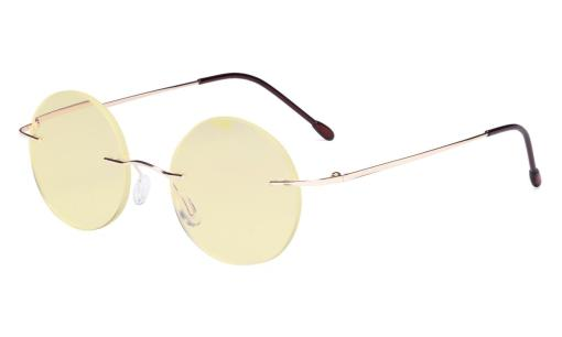 Computer Reading Glasses Blue light Blocking-Round Rimless Readers Men Women Yellow Tinted,Gold TMWK26