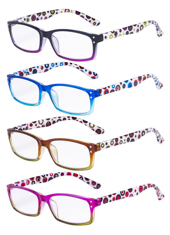 3a7260686fd7 Eyekepper Ladies Reading Glasses 4 Pack Cute Dot Pattern Temples Readers  Women