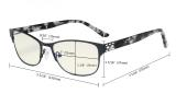 Computer Reading Glasses,Blue Light Filter,Stylish Crystal Readers Women,Red LX17019