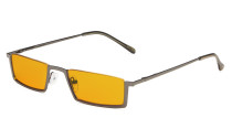 Computer Glasses Half-Rim Blue Blocking Nighttime Eyewear Orange Tinted Gunmetal DS1613