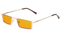 Computer Glasses Half-Rim Blue Blocking Nighttime Eyewear Orange Tinted Gold DS1613
