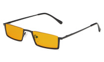 Computer Glasses Half-Rim Blue Blocking Nighttime Eyewear Orange Tinted Black DS1613