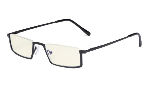 Computer Reading Glasses,UV420 Blue Light Filter,Half-rim Readers,Black UVR1613
