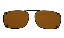 Metal Frame Rim Polarized Lens Clip On Sunglasses 2 1/8 x1 7/16 inch (54×37MM) Brown C64