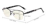 Ladies Blue Light Filtering Computer Glasses - Half-rim Stylish Reading Eyeglasses - UV420 Anti Eye Strain Tired Eye Relief Readers Women - Purple LX17016