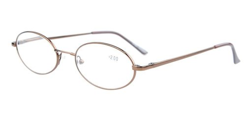 Titanium Memory Bridge Spring Hinges Oval Reading Glasses Brown R1643