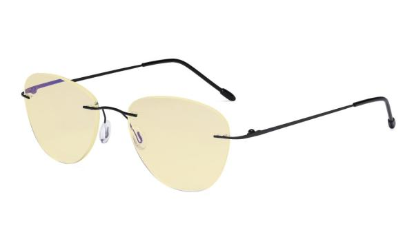 Computer Reading Glasses Blue Light Blocking with Yellow Filter Lens -Rimless Pilot Readers Women,Black TMWK9901B