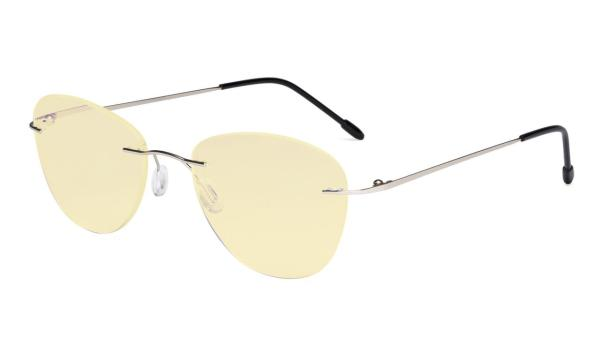Computer Reading Glasses Blue Light Blocking with Yellow Filter Lens -Rimless Pilot Readers Women,Silver TMWK9901B