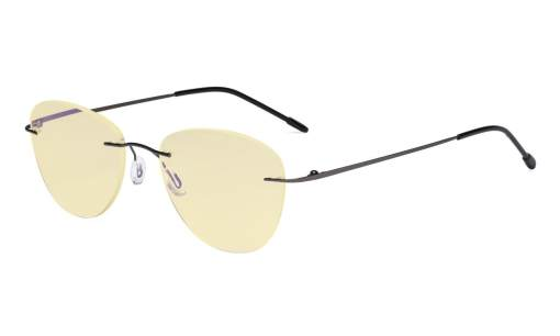 Computer Reading Glasses Blue Light Blocking with Yellow Filter Lens -Rimless Pilot Readers Women,Gunmetal TMWK9901B