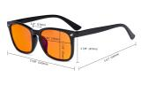 Blue Light Blocking Computer Reading Glasses-Square Nerd Readers with Orange lens,Floral DSRT1801