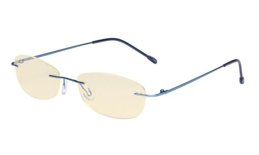 Womens Blue Light Blocking Computer Reading Glasses with Yellow Filter Lens-Rimless Stylish Small Readers,Blue TMWK9903B