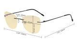 Computer Reading Glasses for Women Blue Light Blocking-Ladies Rimless Large Cateye Readers with Yellow Filter Lens,Gunmetal TMWK9902