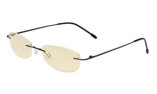 Womens Blue Light Blocking Computer Reading Glasses with Yellow Filter Lens-Rimless Stylish Small Readers,Black TMWK9903B