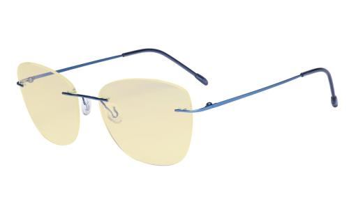Computer Reading Glasses for Women Blue Light Blocking-Ladies Rimless Large Cateye Readers with Yellow Filter Lens,Blue TMWK9902