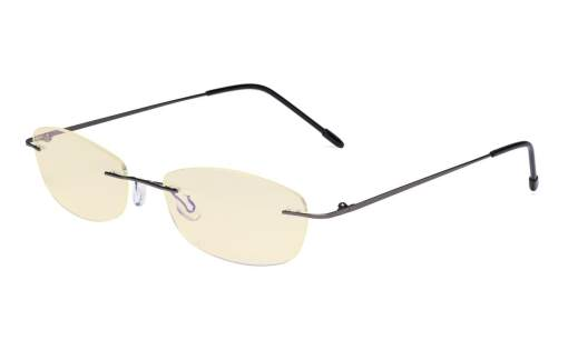 Womens Blue Light Blocking Computer Reading Glasses with Yellow Filter Lens-Rimless Stylish Small Readers,Gunmetal TMWK9903B