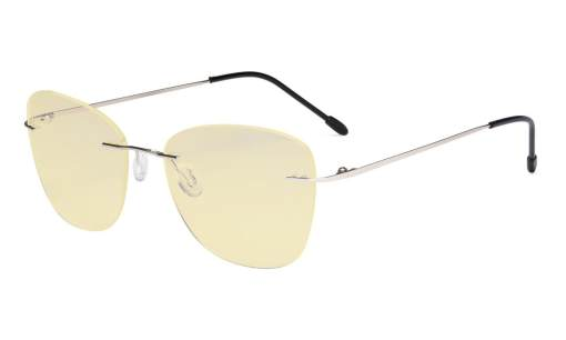 Computer Reading Glasses for Women Blue Light Blocking-Ladies Rimless Large Cateye Readers with Yellow Filter Lens,Silver TMWK9902