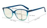 Ladies Computer Reading Glasses - Blue Light Filter Readers - UV420 Large Cat-eye Stylish Women - Light Blue Arm UVRFH2