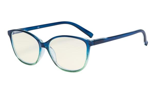 Ladies Computer Reading Glasses - Blue Light Filter Readers - UV420 Large Cat-eye Stylish Women - Deep Blue Arm UVRFH2