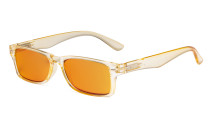 Ladies Blue Light Blocking Reading Glasses with Orange Tinted Filter Lens - Design Computer Readers Women - Yellow DSR066