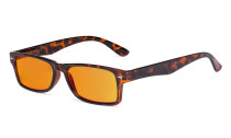 Ladies Blue Light Blocking Reading Glasses with Orange Tinted Filter Lens - Design Computer Readers Women - Tortoise DSR066