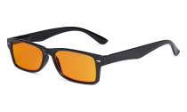 Ladies Blue Light Blocking Reading Glasses with Orange Tinted Filter Lens - Design Computer Readers Women - Black DSR066