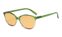 Blue Light Blocking Computer Reading Glasses with Amber Tinted Filter Lens - Large Cat-eye Stylish Readers Women - Green Arm HPFH2