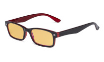 Blue Light Blocking Computer Reading Glasses with Amber Tinted Filter Lens Women Men - Vintage Readers - Black-Red HP055