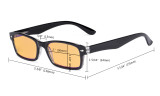 Blue Light Blocking Computer Reading Glasses with Amber Tinted Filter Lens Women Men - Vintage Readers - Black-Yellow HP055