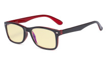 Blue Light Blocking Computer Glasses Women Men with Yellow Tinted Filter Lens - Classic Eyeglasses - Black-Red TMCG075
