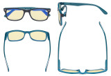 Blue Light Blocking Computer Glasses Women Men with Yellow Tinted Filter Lens - Classic Eyeglasses - Black-Blue TMCG075