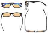 Blue Light Blocking Computer Reading Glasses with Amber Tinted Filter Lens Women Men - Vintage Readers - Black HP055