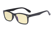 Blue Light Blocking Computer Glasses Women Men with Yellow Tinted Filter Lens - Classic Eyeglasses - Black TMCG075