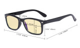 Blue Light Blocking Computer Glasses Women Men with Yellow Tinted Filter Lens - Classic Eyeglasses - Clear TMCG075