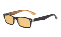 Blue Light Blocking Computer Reading Glasses with Amber Tinted Filter Lens Women Men - Vintage Readers - Black-Brown HP055