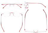 Frameless Reading Glasses Women - Round Rimless Readers Men Red RWK9910
