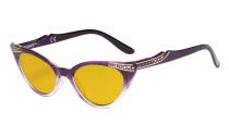 Ladies Blue Light Blocking Glasses with Amber Filter Lens - Cateye Computer Eyeglasses Women - Purple-Transparent
