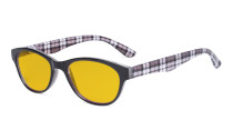 Blue Light Blocking Reading Glasses Women with Amber Tinted Filter Lens - Ladies Cateye Computer Readers - Plaid HP074