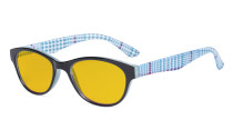 Blue Light Blocking Reading Glasses Women with Amber Tinted Filter Lens - Ladies Cateye Computer Readers - Blue HP074