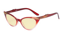 Ladies Blue Light Blocking Glasses with Yellow Filter Lens - Cateye Computer Eyeglasses Women - Red-Transparent TM914