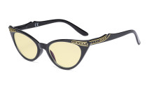 Ladies Blue Light Blocking Glasses with Yellow Filter Lens - Cateye Computer Eyeglasses Women - Black TM914