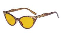 Ladies Blue Light Blocking Glasses with Amber Filter Lens - Cateye Computer Eyeglasses Women - Tortoise