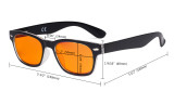 Ladies Blue Blocking Computer Reading Glasses with Orange Filter Lens for Sleeping  - Retro Computer Readers Women - Black DSFH4