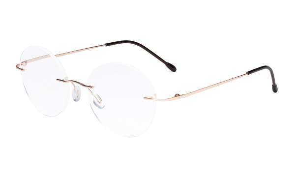 Frameless Reading Glasses Women - Round Rimless Readers Men Gold RWK9910
