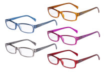 Women's Reading Glasses - 5 Pack Ladies Stylish Readers with Stripe Arms RT1803S